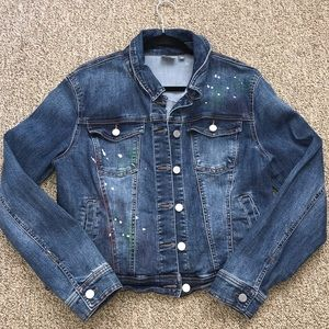 New York & Co Paint Splatter Denim Jacket